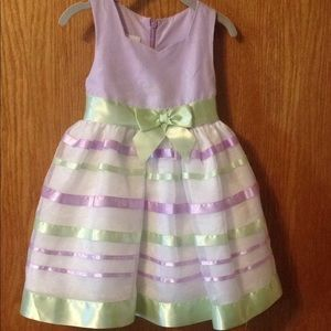 Little girls light green and purple tulle dress 2t